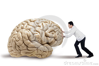 Practitioner pushing a brain