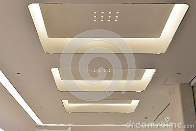 Led ceiling of Modern plaza hall ,modern office building , modern business building hall, inside commercial building