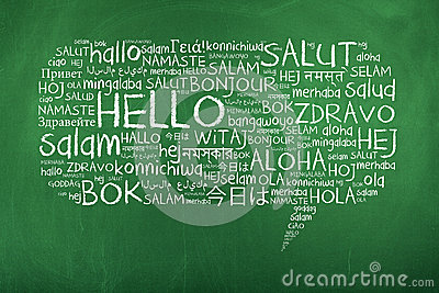 Hello Speech Bubble in Different Languages