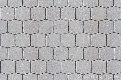 Road pavement texture background close up / Hexagon pattern cement sidewalk