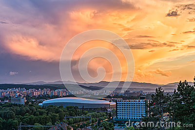 view over Cluj-Napoca at sunset