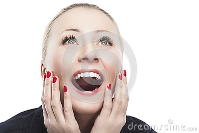 Excited Caucasian Woman Looking Upwards   with Joy, Fascination