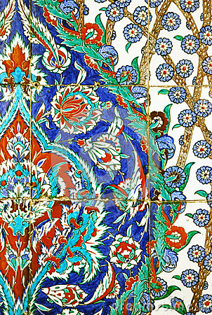 Detail of handpainted tiles in Topkapi Palace, Istanbul