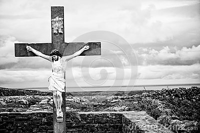 Jesus Christ on Crucifix, Black and White