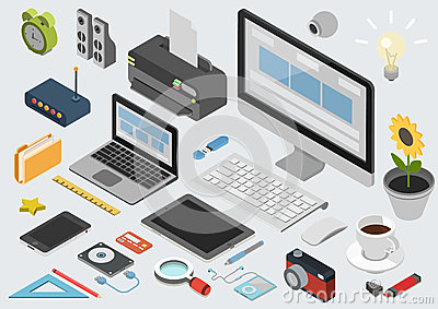 Flat 3d isometric technology workspace infographic icon set