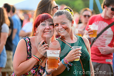 People have fun drinking beer and watching concerts at FIB Festival