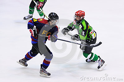Players in action in the Ice Hockey final of the Copa del Rey