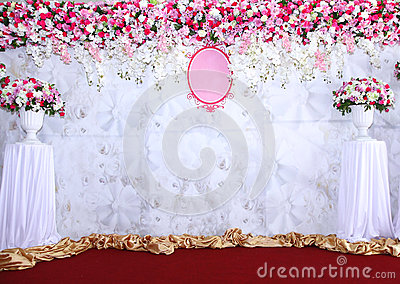Pink and white backdrop flowers arrangement ready for wedding.