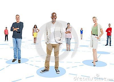 Diverse Group of People Standing Individual Concept