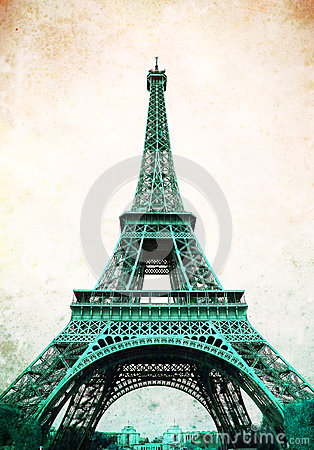 Eiffel Tower - retro postcard styled