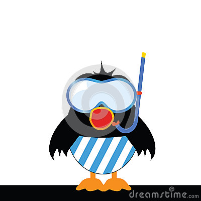 Bird sings with a diving mask vector illustration