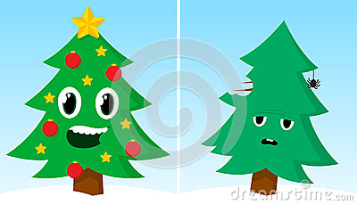 Two Christmas Trees One Happy One Sad After Xmas A cartoon about christmas trees. two christmas trees one happy one sad