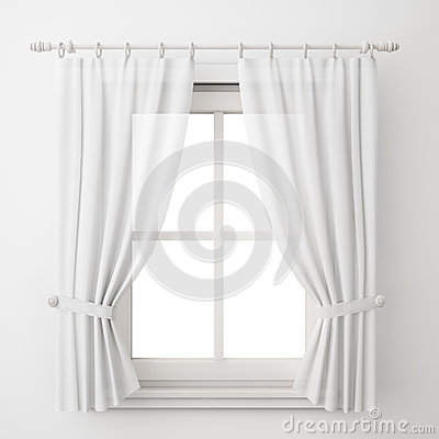 Vintage white window frame with curtain isolated on white background