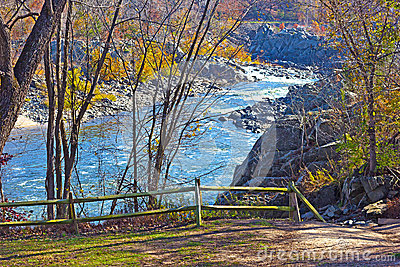 Scenic overlook on Potomac River in Great Fall National Park, Virginia US.