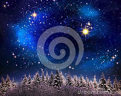 Christmas night sky  background.