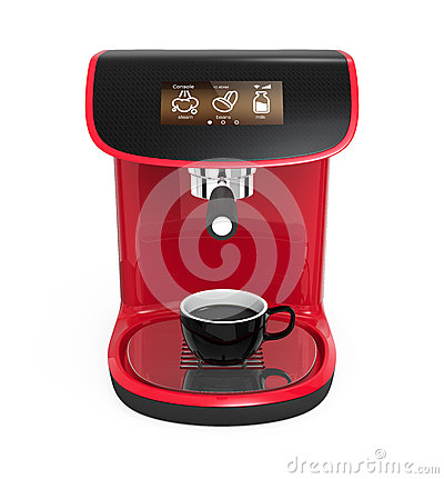 Stylish red coffee machine with touch screen