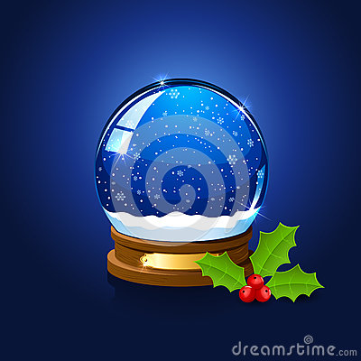 Christmas snow globe and holly berry