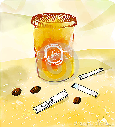 Vector illustration of paper cup with hot coffee, beans and sugar sticks at watercolor orange background