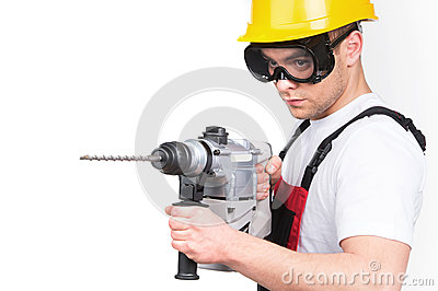 Construction building engineer or manual worker man in safety hardhat helmet.