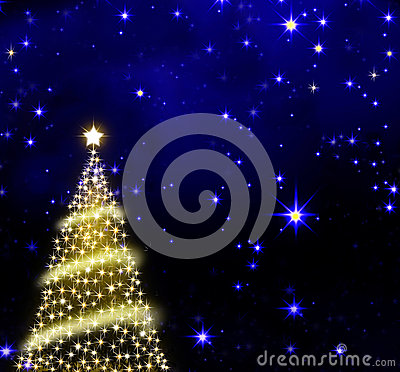 Christmas tree on stars sky background.