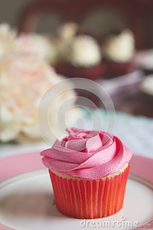 Pink vanilla rose cupcake on plate with text space