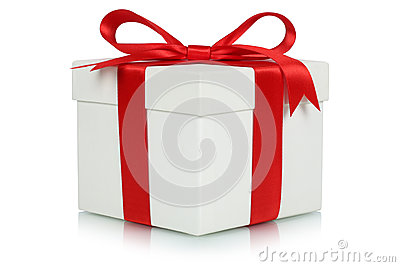 Gift box with bow for gifts on Christmas, birthday or Valentines