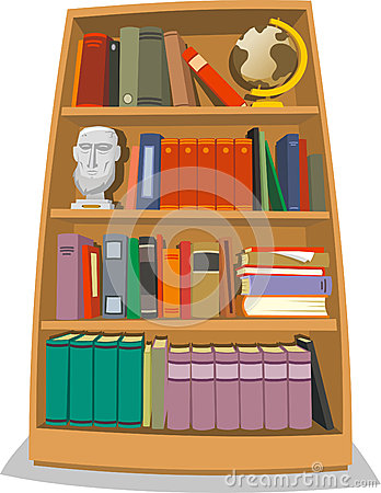 Bookcase with books globe world sculpture and folders