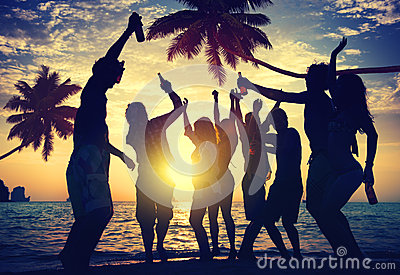 People Teenagers Summer Enjoying Beach Party Concept