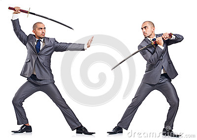 Two men figthing with the sword isolated