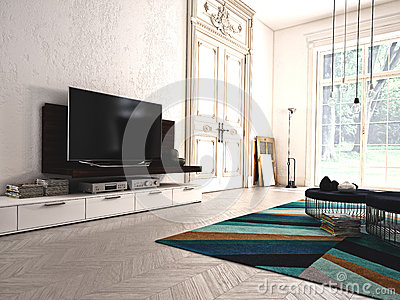 Modern living-room with TV and hifi equipment. 3d