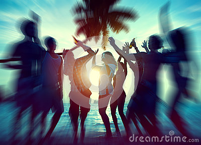 Dancing Party Enjoyment Happiness Celebration Outdoor Beach Concept