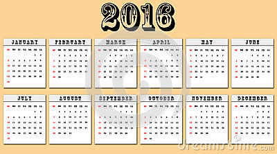 American calendar 2016 week starts on Sunday