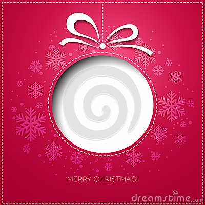 Merry Christmas greeting card with bauble. Paper