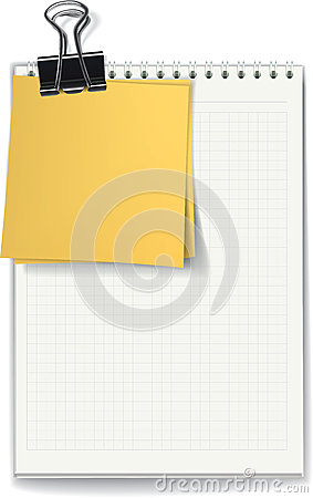 The jotter and stickers fastened by a binder clip