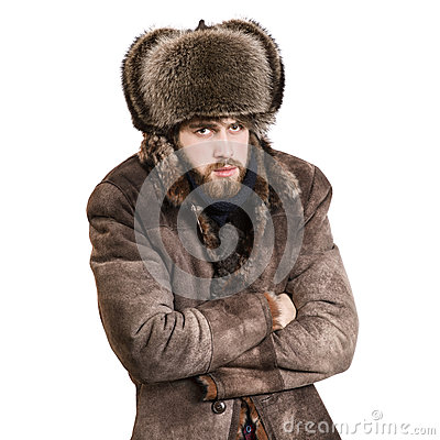 Man in the coat feel cold
