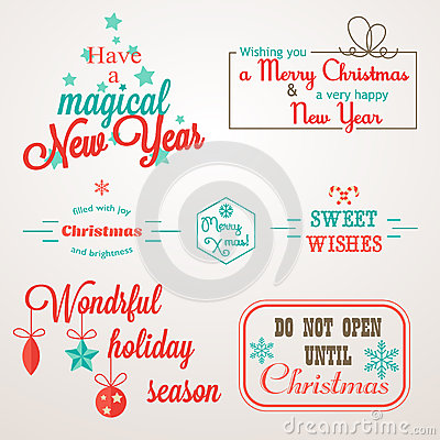 Collection of Christmas and New Year greeting phrases and elements