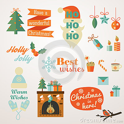Collection of Christmas and New Year greeting phrases and elements.