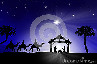 Traditional Christian Christmas Nativity scene with the three wi