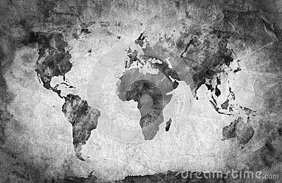 Ancient, old world map. Pencil sketch, vintage background