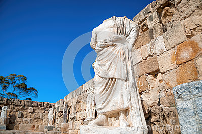 Roman statue at the Ruins of Salamis. Famagusta District, Cyprus