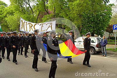 Romanian seamen on parade