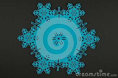 Christmas background with blue snowflakes and copy space