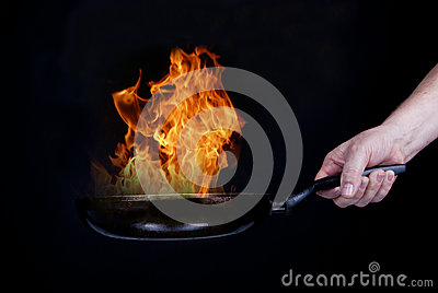 Fire on frying pan
