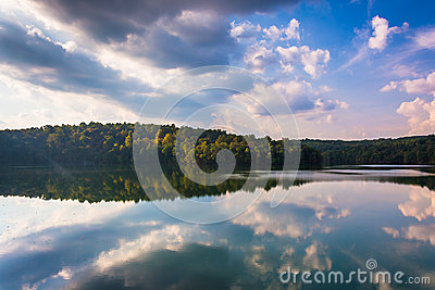 Afternoon cloud reflections in Prettyboy Reservoir, Baltimore Co