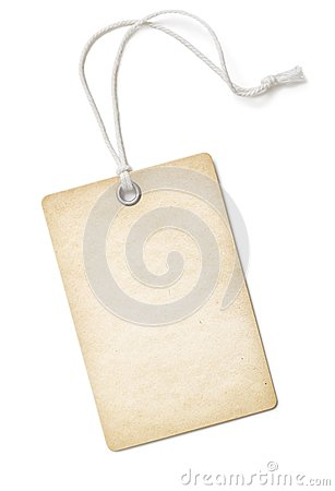 Vintage blank paper price tag or label isolated on