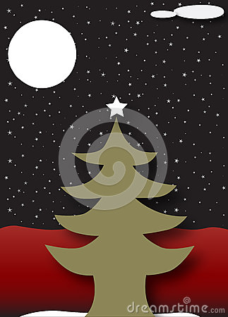 Christmas tree under a starry dark night sky