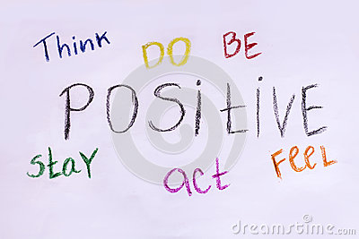 Think,do ,be ,stay,act,feel Positive .Motivational slogan