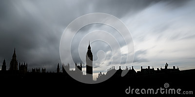 Panoramic silhouette of The Houses of Parliament and the Big Ben in London