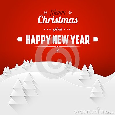 Merry Christmas and Happy New Year Landscape Greeting Card. Retro Font.