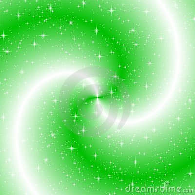 Green swirl with sparkles